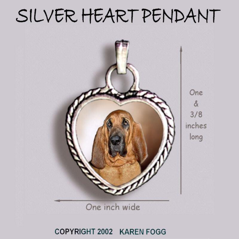BLOODHOUND DOG - Ornate HEART PENDANT Tibetan Silver
