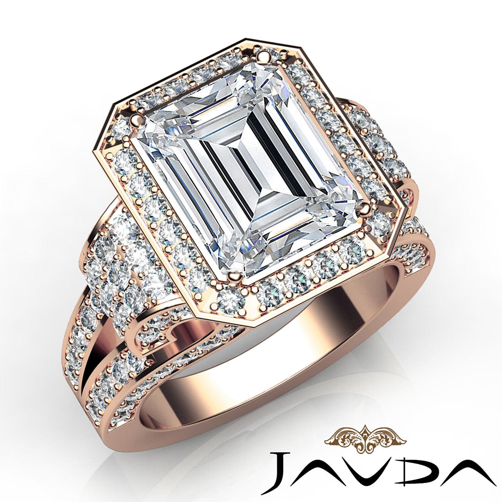 4.4ctw Antique Vintage Halo Emerald Diamond Engagement Ring GIA I-VS1 White Gold 10