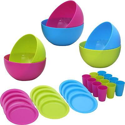 12 Pers. Campinggeschirr, Plastikgeschirr Plastikteller Kunststoffteller