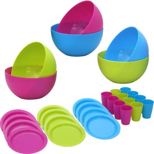 12 Pers. Campinggeschirr, Plastikgeschirr Plastikteller Kunststoffteller Mehrweg