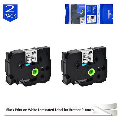 2pk 18mm Black On White Tz-241 Label Tape Compatible Brother Tze241 P Touch 34