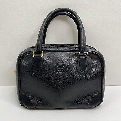 Vintage GUCCI Black Leather Handbag Doctor Satchel Boston Serial # 000-39-0090