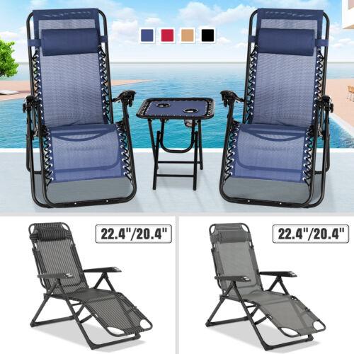 3PC/1PC Zero Gravity Beach Recliner Chair Folding Adjustable