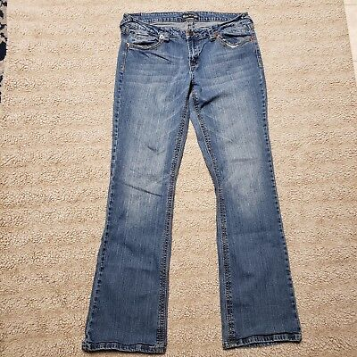 Juniors 17 Royal Blue Boot Jeans Medium Wash 34 Inseam Whiskered Factory Fade