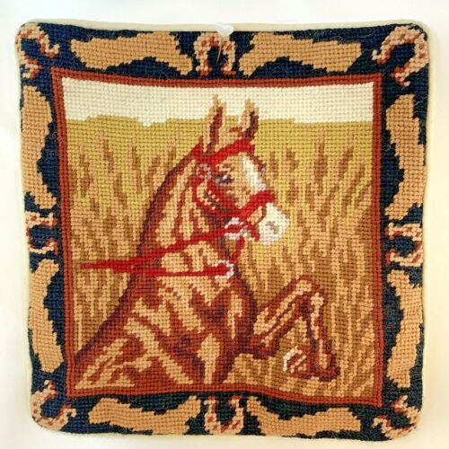 "Horse Equestrian Needlepoint Pillowcase 10"" Square Velveteen Back w/Zipper"