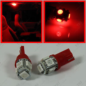 2pcs Red T10 Wedge Led Light Bulbs For Car Interior Dome