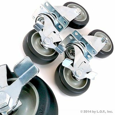 Set Of 4 Swivel Plate Casters With 4 Polyurethane Wheels Over 1100lbs Capacity