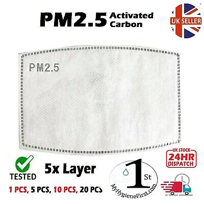 Mask Filter - PM2.5 -5 layer, Activated Carbon Replacements -UK SELLER + STOCK-