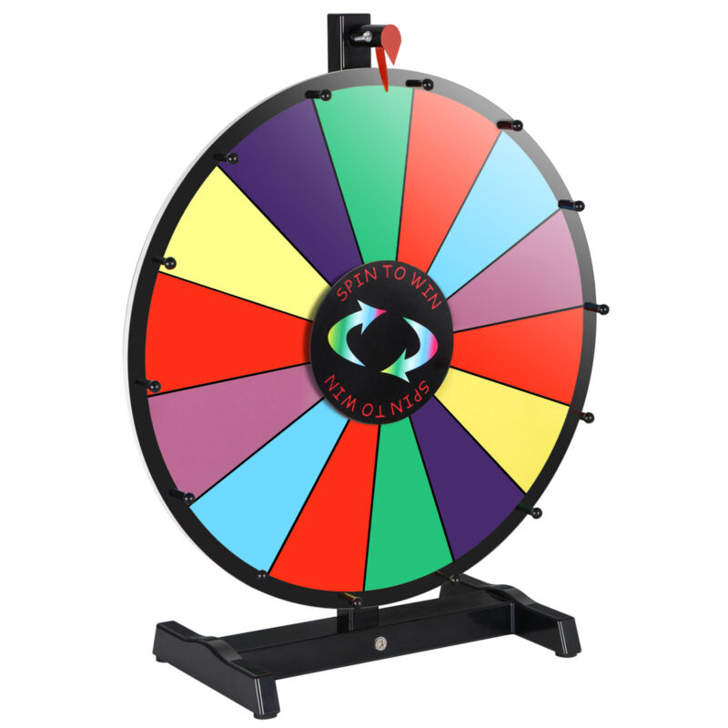 """Used Portable 18"""" Spinning Game Prize Wheel 14 Slots W/Stand & Dry Erase Trade"""