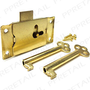 LARGE 63mm BRASS CUPBOARD LOCK 2 KEYS + SCREWS Cabinet/Drawer/Wardrobe Door