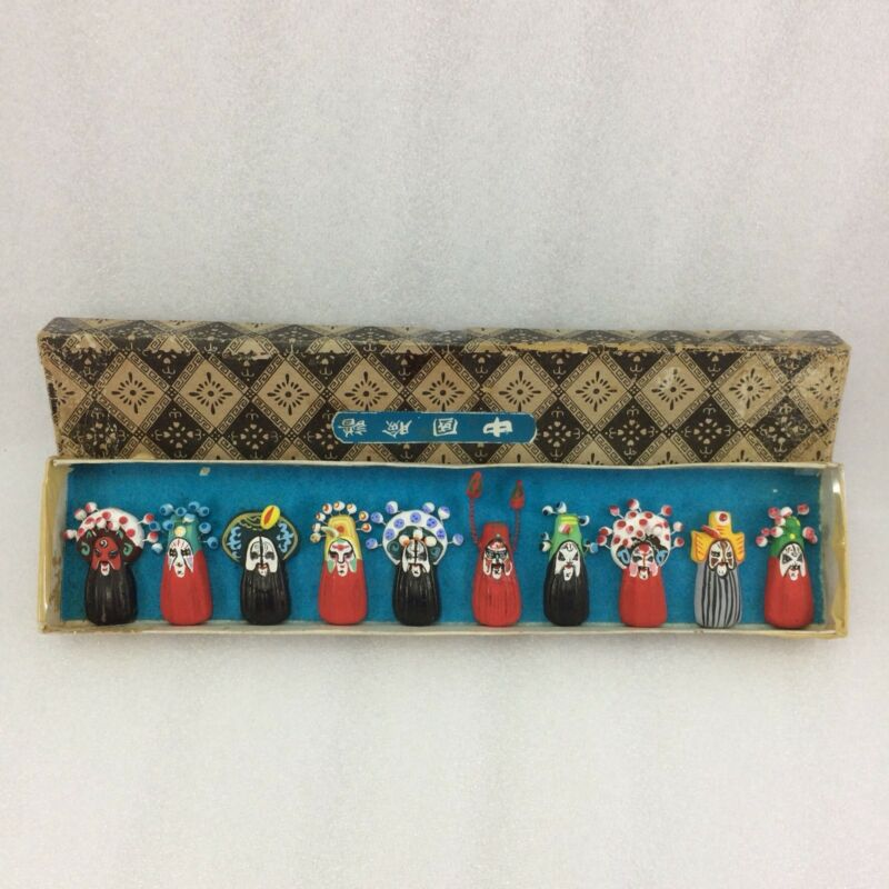 U13 Chinese Opera Asian Miniature 10 Pcs Ceramic Mask Hand Painted Set In Box