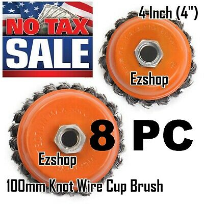 8 Pc 4 Twist Wire Cup Brush 58-11nc Threads For Angle Grinder