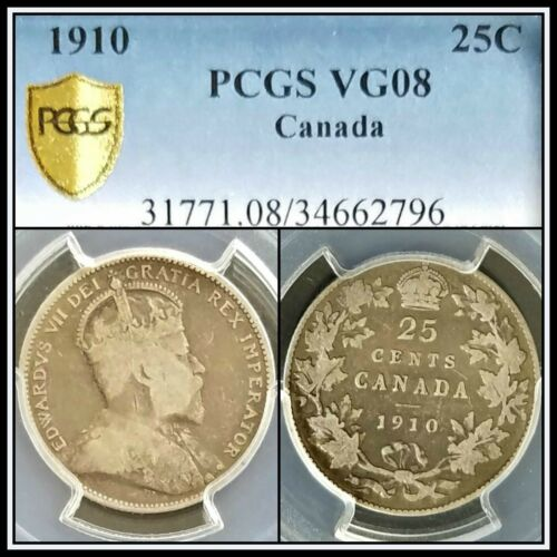 1910 Silver Canada 25 Cents PCGS VG08 Very Good Quarter Dollar 25c Classic Coin