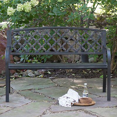 4-Foot Cross Weave Curved Back Metal Patio Bench Outdoor Home Garden Furniture Cross Back Garden Bench