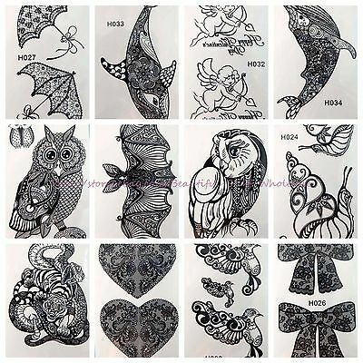 10 sheets wholesale cute black henna lace temporary tattoo bulk tattoos