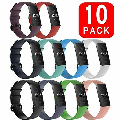 10 PACK Fitbit Charge 3 / Charge 4 Wristband Silicone Bracelet Strap Band Jewelry & Watches