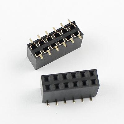 100pcs 2.54mm Pitch 2x6 Pin 12 Pin Female Smt Double Row Pin Header Strip