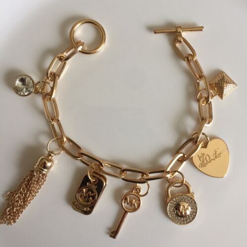 MK Michael Kors Charms Bracelet Bangle Womens Jewelry Accessory Silver Tone Key