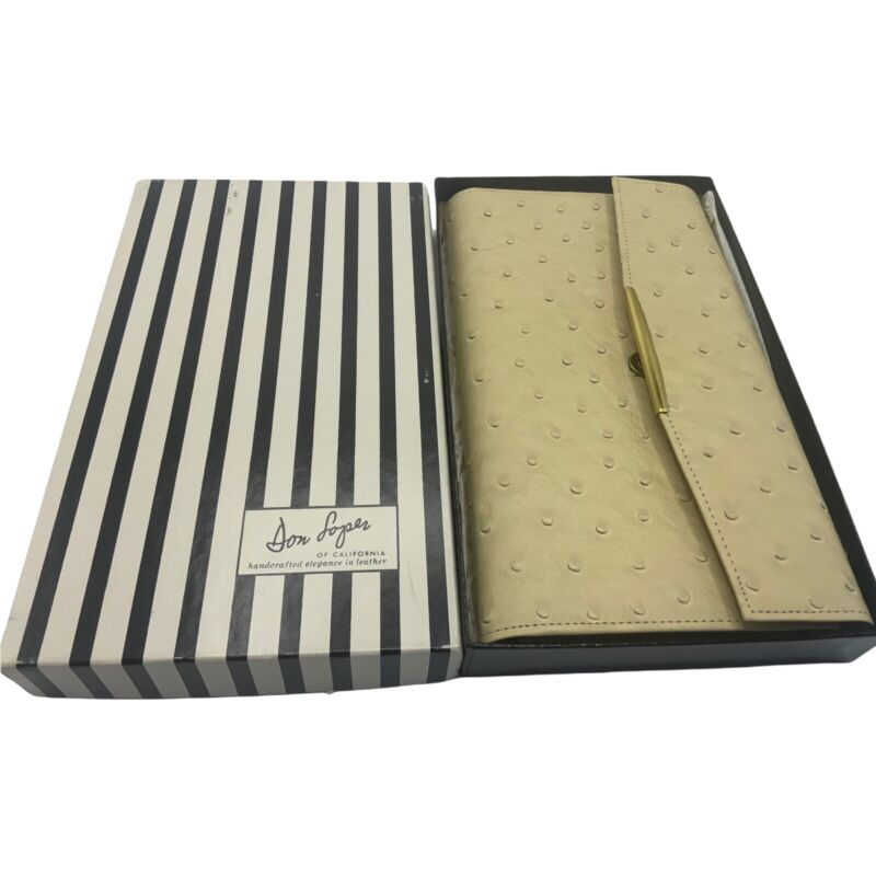 VINTAGE DON LOPER OF CALIFORNIA GENUINE OSTRICH WOMENS WALLET CLUTCH NEW IN BOX