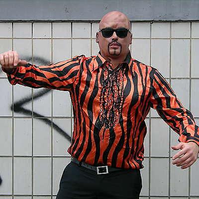 Zuhälter Glanz Hemd mit Rüschen Gangster Mafia Gigolo Tiger Karneval - Zuhälter Kostüm