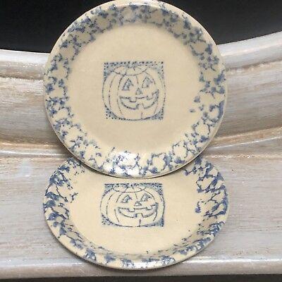 Beaumont Brothers Pottery Pumpkin Mini Butter Pat Plates 2 Halloween Salt Glaze