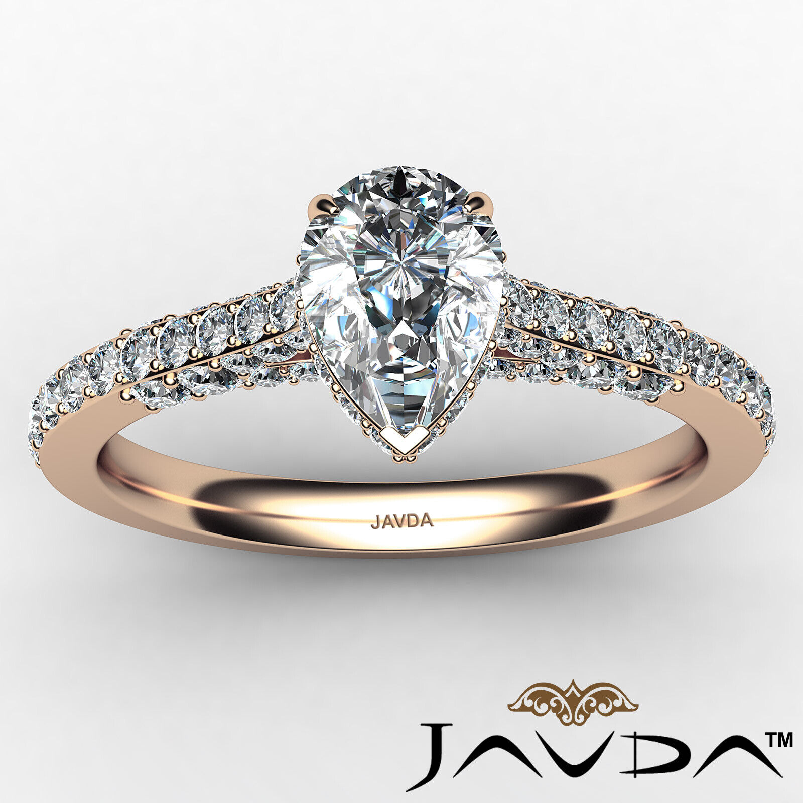 Pear Diamond Engagement Pave Ring GIA Certified H Color & VS2 clarity 1.06 ctw 11