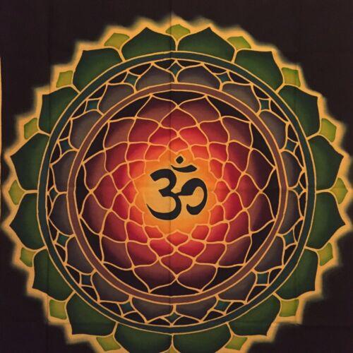 BALI Hand-painted Yoga Batik Lotus Tapestry Sacred Geometry Chakra Mandala - NEW