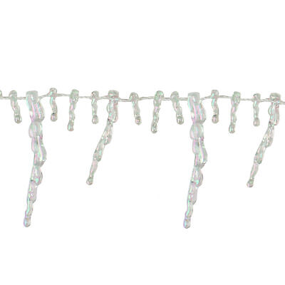 Northlight 8 X 2 5 Clear Iridescent Icicle Beaded Christmas Garland For Sale Online Ebay