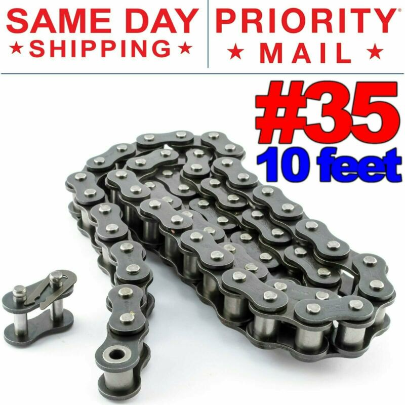 #35 Roller Chain x 10 feet + Free Connecting Links + Same Day Expedited Shipping
