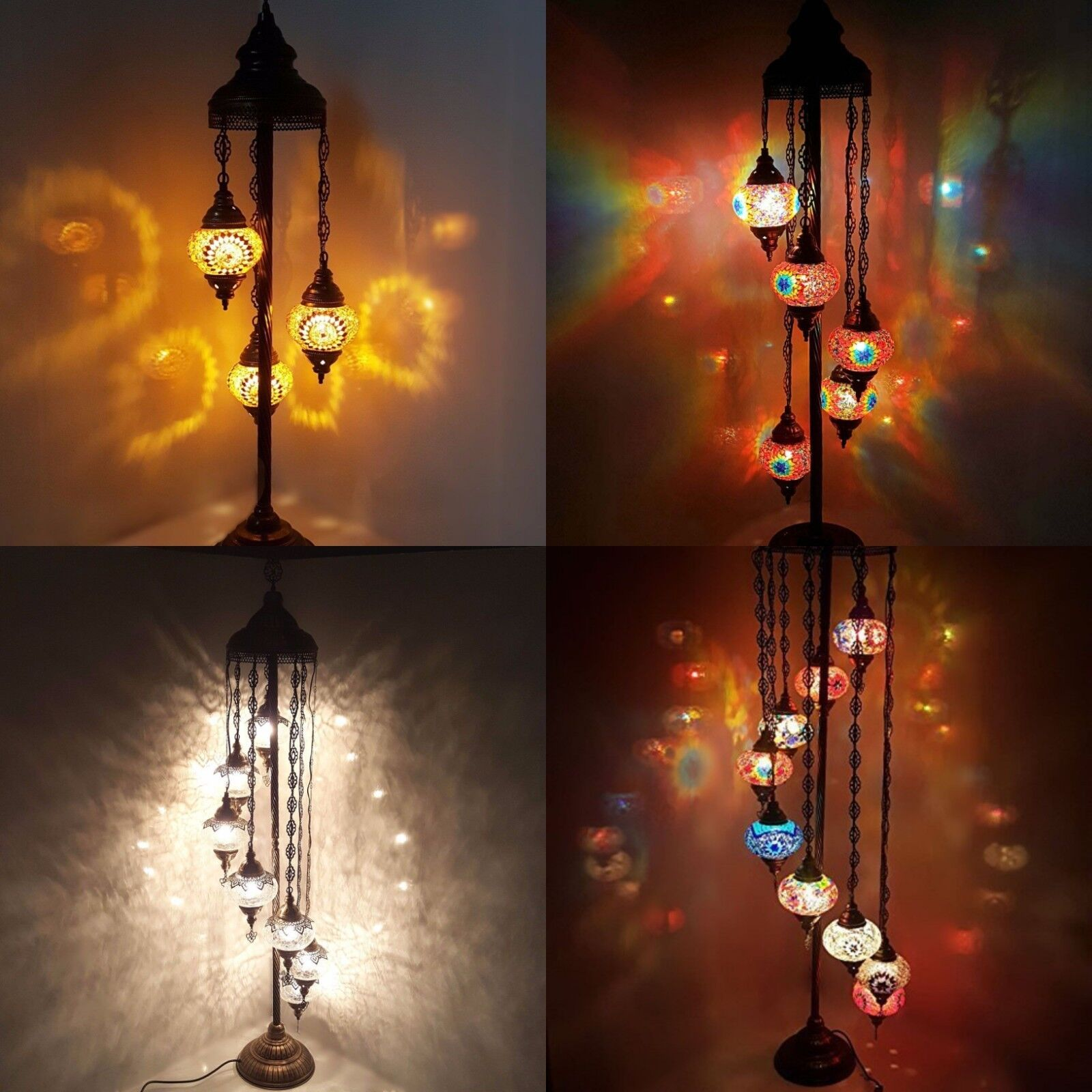 7 Ball Turkish Water Drop Style Mosaic Chandelier Multi color