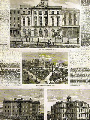 San Francisco Earthquake CITY HALL PLAZA LINCOLN SCHOOL 1868 Antique Art Matted