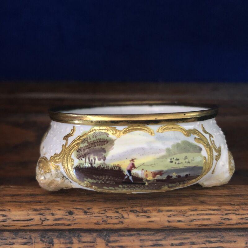 18th Century Bilston Battersea Enamel Open Salt Antique