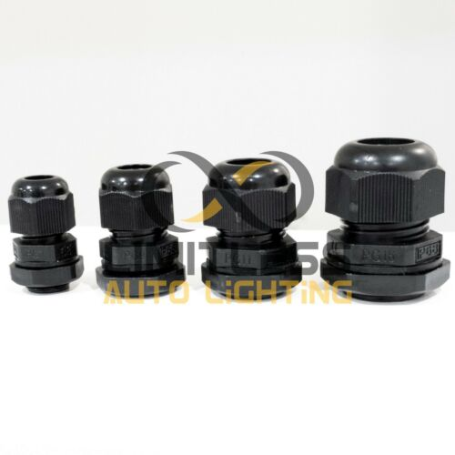 Black Nylon Waterproof Headlight Cable Glands With Gasket and Lock-Nut