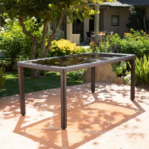 San Simeon Outdoor Wicker Rectangular Dining Table with Tempered Glass Top Home & Garden