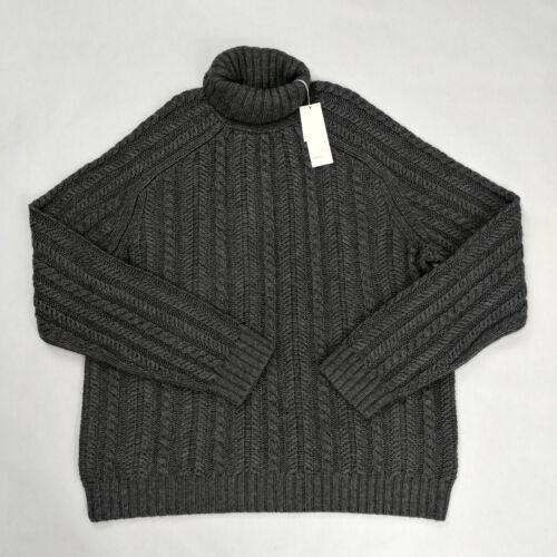 $525 Vince Men`s Cashmere Wool Blend Turtleneck Grey Knit Sweater Size XL 2XL