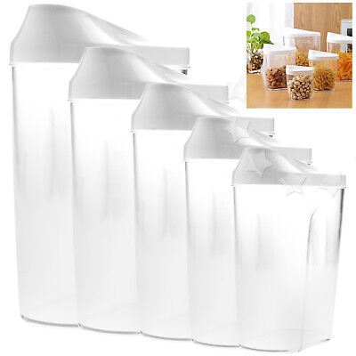 Cereal Storage (5pcs Dried Food Cereal Flour Bean Storage Dispenser Rice Container Sealed)