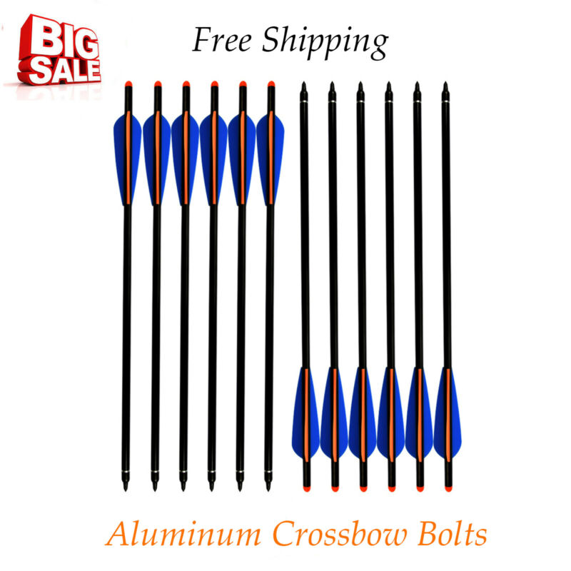 """18""""Archery Aluminun Crossbow Bolts Arrow Replaceable Broadheads for Hunting 12Pc"""