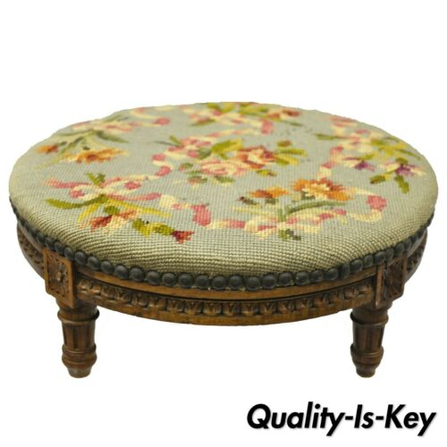 Round French Louis XVI Style Small Antique Needlepoint Petite Footstool Ottoman