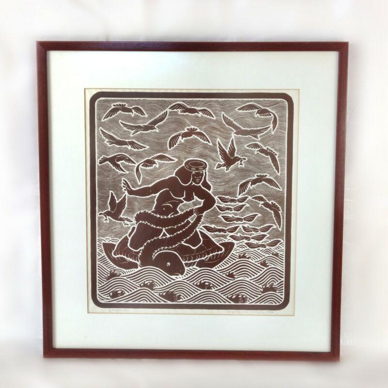 "1988 Dietrich Varez ""Laukia"" Vintage Hawaiian Woodblock Print Oceanscape"