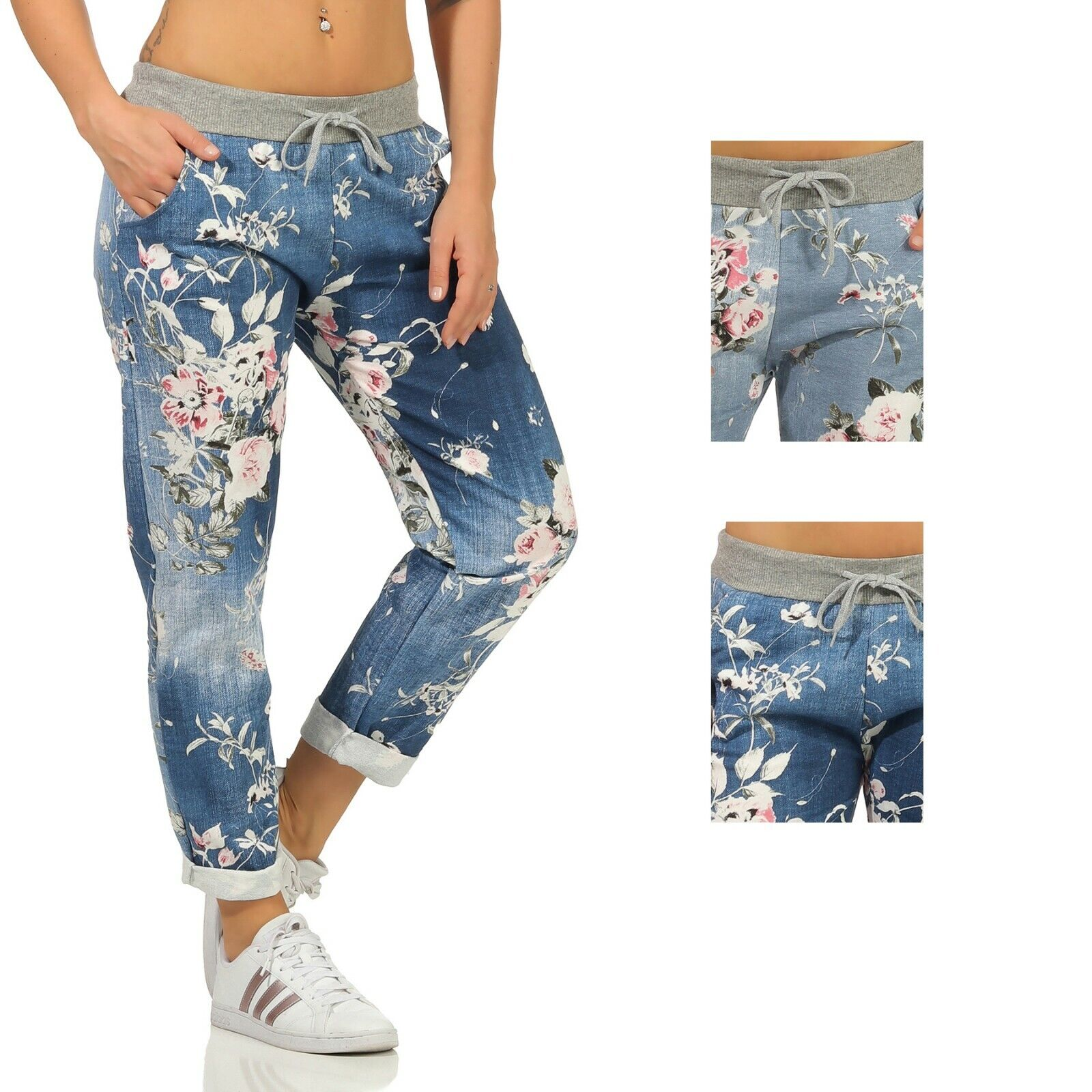 Sweathose Damen Sport Freizeit Hose Jeans-Druck leichte Jogginghose JOGPANTS