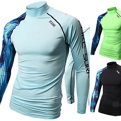 Mens Beach Water Sports Rash Guard Wetsuits Long Sleeve Top Summer Swimwear E619