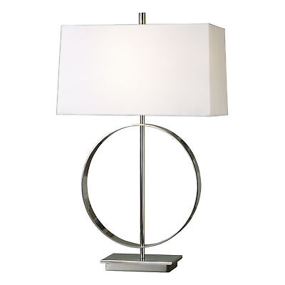 Open Silver Ring Table Lamp | MidCentury Round Circle White Shade Contemporary