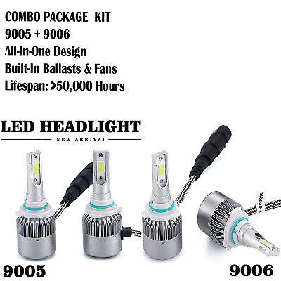 4 Bulb Kit 2000W 300000Lm 9005 9006 6000K Combo Cree Led Headlight High Low Beam