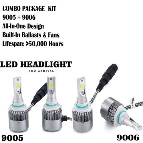 Led - 4 Bulb Kit 2000W 300000LM 9005 9006 6000K Combo CREE LED Headlight High Low Beam