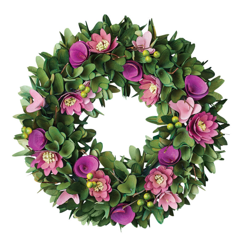 Colorful Purple Spring Flowers Wooden Wreath