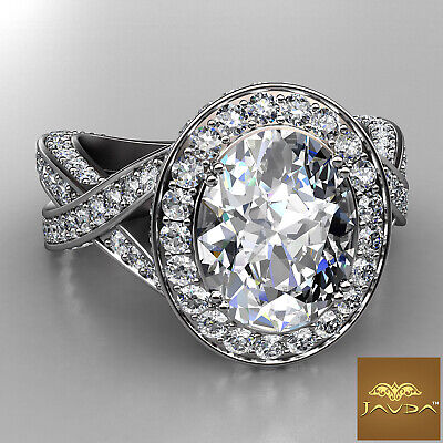 2.52 ct Oval Diamond Engagement 14K White Gold G SI1 GIA Cross Shank Halo Ring 1