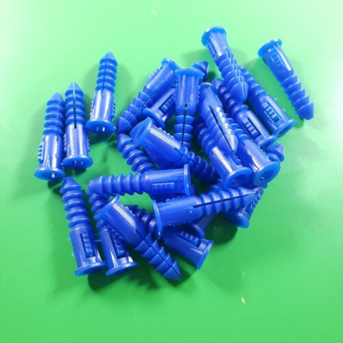 Everbilt PLASTIC RIBBED WALL ANCHORS | 1 1/4 inch | Set of 24 Blue