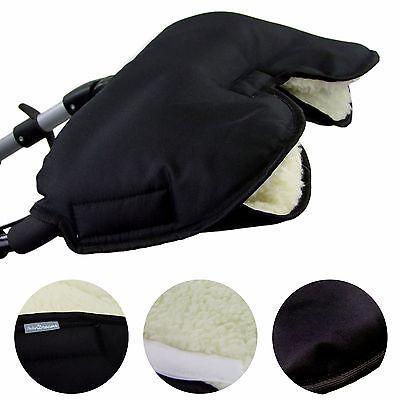 HANDMUFF MUFF Handwärmer Handschuh für Kinderwagen mit LAMMWOLLE SCHWARZ .
