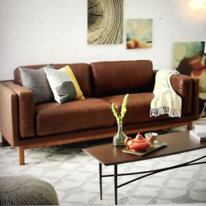 West Elm Leather Dekalb Sofa 85'