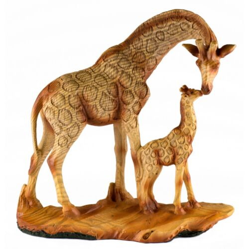 Giraffe Mother and Baby Faux Carved Wood Look Figurine Resin 6.75 Inch High New